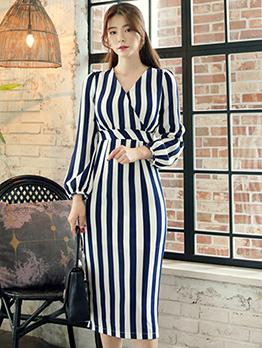 Fashion Lantern Sleeve V Neck Striped Fitted Dress