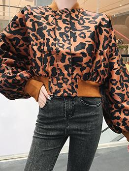 Chic Leopard Print Zipper Up Short Coat