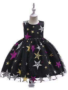 Gauze Star Sleeveless Flower Dress For Girls