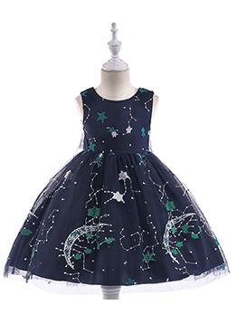 Embroidery Moon Sleeveless Flower Girl Dresses