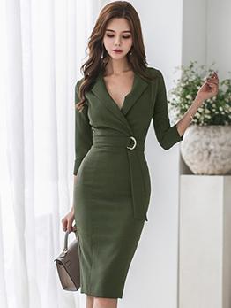 Autumn Korean Design Solid  Fitted Tie-wrap Dress