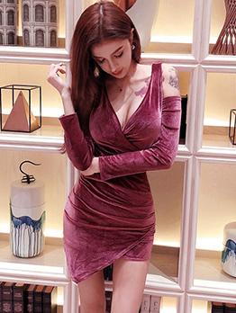 Sexy Low Cut Solid Irregular Women Dress