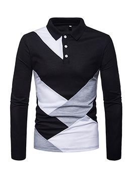 Fashion Color Block Long Sleeves Polo Shirt