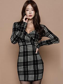 Korean V Neck Plaid Bodycon Dress
