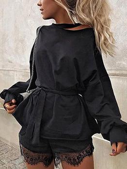 Casual Inclined Shoulder Tie-wrap Loose Black Sweatshirts