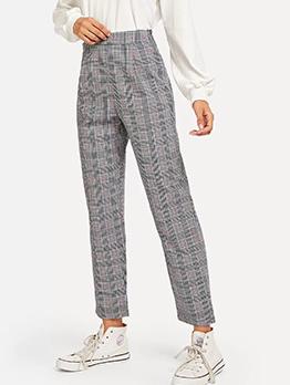 Casual Plaid High Waist Long Pants