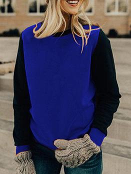 Casual Color Block Crew Neck Sweatshirts
