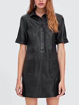 Cool Style Single-Breasted Pockets Pu Black Dress