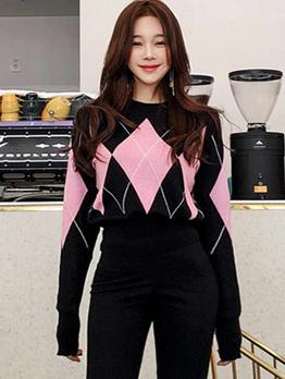 Korean Geometric Printed Casual Female Sweater