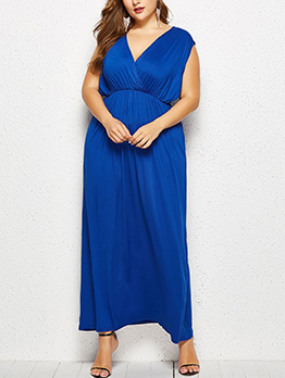 Sexy V Neck Fitted Solid Sleeveless Maxi Dress