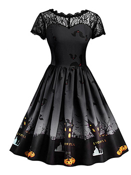 Fashion Lace Patchwork Printed Halloween Dress