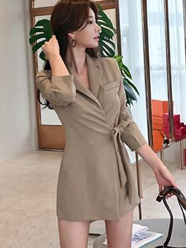 Autumn Binding Bow Lapel Khaki Blazers Dresses