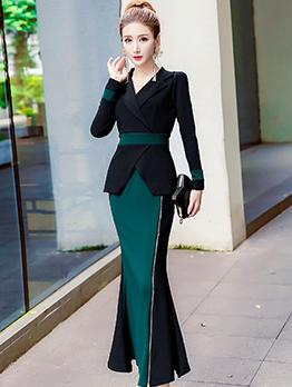 Autumn Contrasting Colors Split V-Neck Maxi Dresses