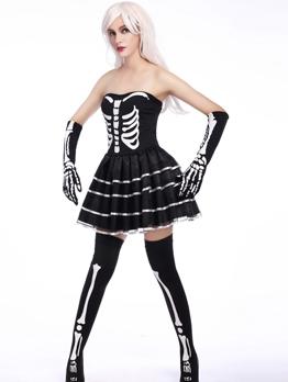 Halloween Color Block Patchwork Vampire Dress For Women