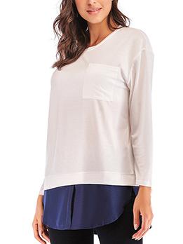 Plus Size Colorblock Patchwork Loose T-Shirt
