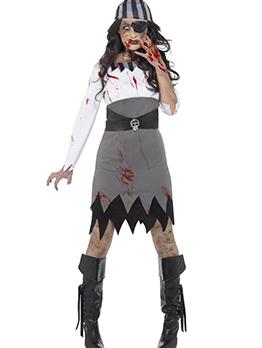 Halloween Patchwork Color Block Pirate Suit For Women