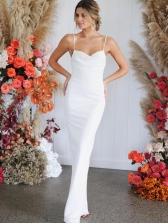 Sexy Tie-wrap White Spaghetti Strap Long Dresses