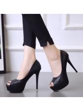 Fashionable Peep-Toe Platforms Black Heel Pumps