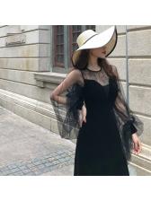 Fashion Puff Sleeve Gauze Patchwork Maxi Dress