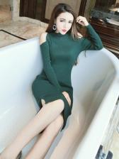 Off Shoulder Slit Fitted Knitting Dresses