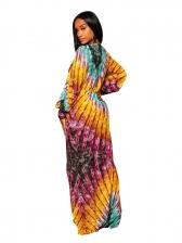 Fashion Printed Plunging V Neck Color Block Dress