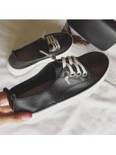 Korean Style Lace Up Pu Matching Women Shoes