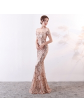 Elegant Sequined Off Shoulder Boutique Fitted Evening Dresses