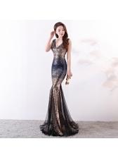 Sexy Boutique Sequined Deep V-neck Patchwork Evening Dresses