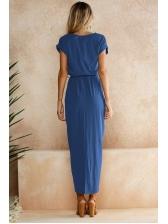 Fashion Self Irregular Split Tie-Wrap Short Sleeve Dresses