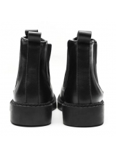 Classic Round Toe Black Chelsea Boots For Women