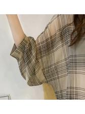 Leisure Plaid Single-breasted Turndown Collar Blouses