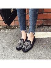Vintage Style Beaded Slip On Black Flats
