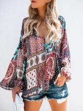 Fashion Printing Long Sleeves V Neck Chiffon Blouse