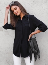 New Arrival Long Sleeves Solid Turndown Collar Blouse