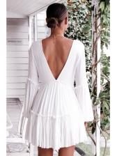 V-Neck Ruched Lantern Sleeve White Long Sleeve Mini Dress