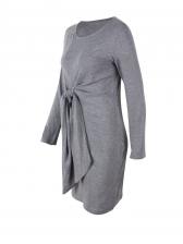 Casual Crew Neck Tie-Wrap Solid Dress