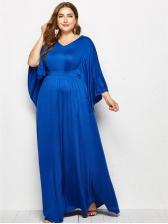 Plus Size V Neck Bat Sleeve Loose Solid Maxi Dress