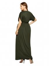 Plus Size V Neck Bat Sleeve Tie-Wrap Maxi Dress