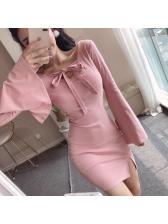 Cross Belt Tie-Wrap Flare Sleeve Bodycon Dress