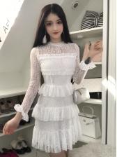 Hot Sale Crew Neck Lace Patchwork Bubble Dress