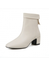 New Arrival Solid Chunky Heel PU Boots