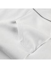 Hot Sale Zipper Up Pocket Solid Crop Hoodies