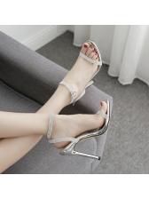 Euro Faux Diamond A-Buckle Belt Heel Sandals