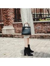 Stylish Diamond Chunky Black Ankle Boots