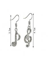 Chic Rhinestone Musical Note Design Asymmetrical Earrings