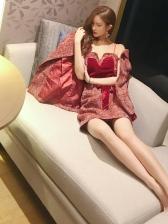 Hot Sale Velvet Straps Dress With Woolen Blazer