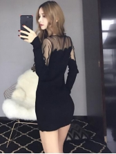 Hot Sale Gauze Patchwork Fitted Black Dress
