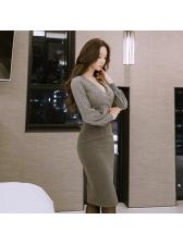 Korean Low-cut Lantern Sleeve Fitted Dress