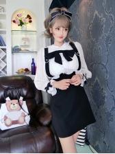 Korean Design Sweet Lantern Sleeves Patchwork Dress