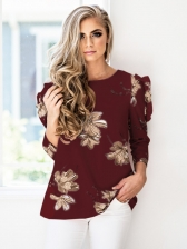 Fashion Crew Neck Floral Ruffled Detail Loose T-Shirt